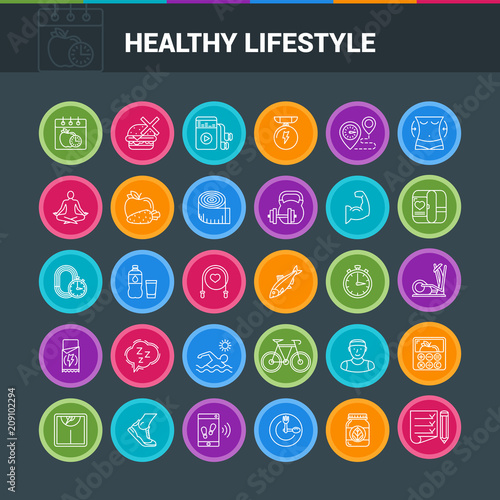 Healthy lifestyle colorful icon set. Modern icons on theme fitness, nutrition and dieting. Vector illustration - 209102294
