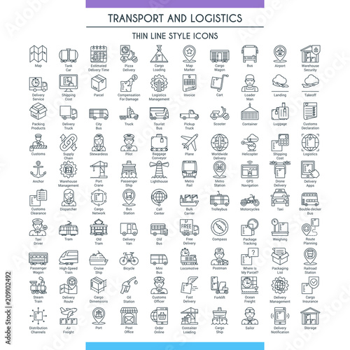 Fototapeta Transport and logistic big icons set. Modern icons on theme delivery, packaging, navigation and transportation. Thin line design icons collection. Vector illustration