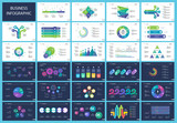 Set of workflow and strategy concept infographic charts. Business diagrams for presentation slide templates. For corporate report, advertising, banner and brochure design. - 209104268