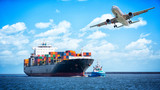 Container cargo freight ships and cargo plane for logistic Import export background - 209106213