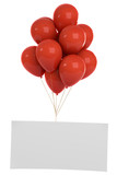3D-Illustration rote Luftballone mit weissen Schild - 209107678