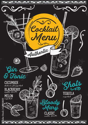 Cocktail bar menu. Vector drinks flyer for restaurant and cafe. Design template with vintage hand-drawn illustrations.