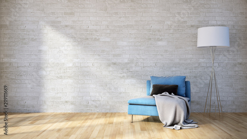 Leinwanddruck Bild Modern bright interiors apartment 3D rendering illustration