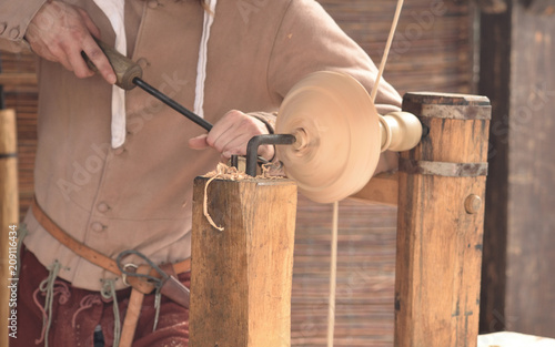 Close Up Of Medieval History Dynamic Woodworking Craftsman Artisan