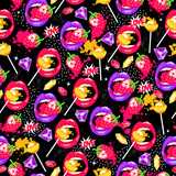 Pop art seamless pattern with lips, strawberry, lollipops, diamonds and love. Color background with sweet elements.