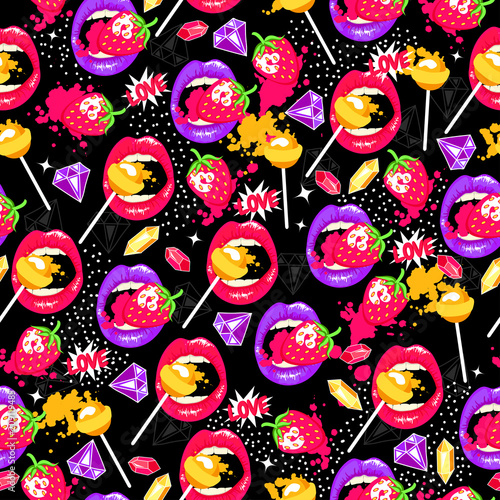 Aluminium Pop Art Pop art seamless pattern with lips, strawberry, lollipops, diamonds and love. Color background with sweet elements.