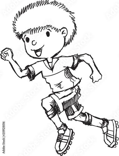 Fotobehang Cartoon draw Hand Drawn Sketch Boy Running Vector Illustration Art