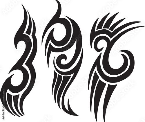 Fotobehang Cartoon draw Tribal Tattoo Vector Design Set