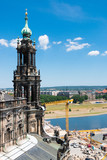 Dresden, Germany. Zwinger Palace and gallery of masters. Beautiful statues. Historic Heritage. A city for tourism and tourists. View of the Elba River. Nearby the Opera House. - 209133894