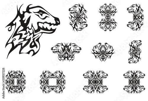Abstract young dragon head symbols. Tribal double symbols of the dragon head and frames in black and white option for your design