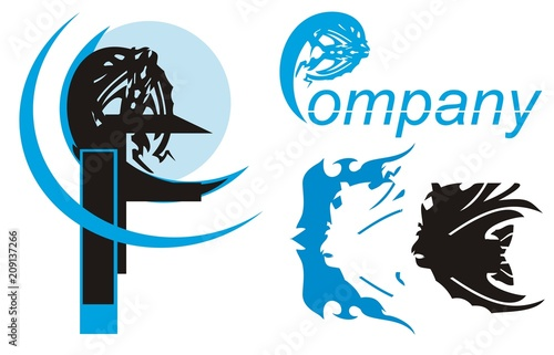 Fish symbol for your design. Peaked silhouette of dangerous fish - the concept for fish business in blue and black option
