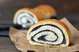 Close up of poppy seed roll