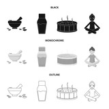 A bowl with flower petals and tolkushka, a bottle with ointment or cream, a pool with water, a woman in a yoga pose. Spa set collection icons in black,monochrome,outline style vector symbol stock - 209140244