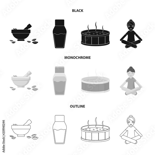 A bowl with flower petals and tolkushka, a bottle with ointment or cream, a pool with water, a woman in a yoga pose. Spa set collection icons in black,monochrome,outline style vector symbol stock