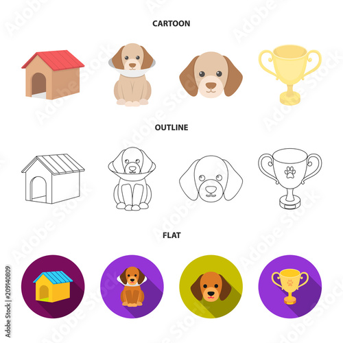 Dog house, protective collar, dog muzzle, cup. Dog set collection icons in cartoon,outline,flat style vector symbol stock illustration web.
