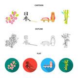 Geta, sakura flowers, bamboo, hieroglyph.Japan set collection icons in cartoon,outline,flat style vector symbol stock illustration web.