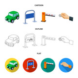 Car, parking barrier, bicycle parking place, coin in hand for payment. Parking zone set collection icons in cartoon,outline,flat style vector symbol stock illustration web. - 209141225