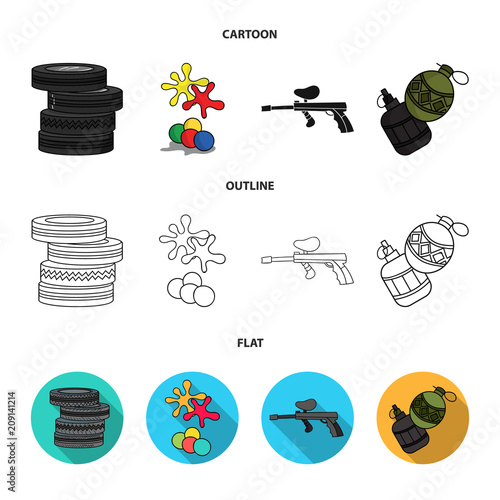 Competition, contest, equipment, tires .Paintball set collection icons in cartoon,outline,flat style vector symbol stock illustration web.