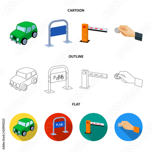 Fridge magnet Car, parking barrier, bicycle parking place, coin in hand for payment. Parking zone set collection icons in cartoon,outline,flat style vector symbol stock illustration web.