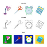 Table lamp, scissors, alarm clock, calculator. School and education set collection icons in cartoon,outline,flat style vector symbol stock illustration web. - 209141412