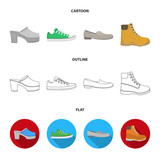 Flip-flops, clogs on a high platform and heel, green sneakers with laces, female gray ballet flats, red shoes on the tractor sole. Shoes set collection icons in cartoon,outline,flat style vector - 209141458