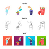 Energy-saving light bulb, watering a houseplant and other web icon in cartoon,outline,flat style. garbage can with waste and garbage icons in set collection. - 209141486