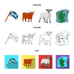 The state flag of Andreev, Scotland, the bull, the sheep, the map of Scotland. Scotland set collection icons in cartoon,outline,flat style vector symbol stock illustration web.