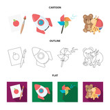 Children's toy cartoon,outline,flat icons in set collection for design. Game and bauble vector symbol stock web illustration.