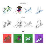 Bicycle, rickshaw, plane, yacht.Transport set collection icons in cartoon,outline,flat style vector symbol stock illustration web. - 209141683