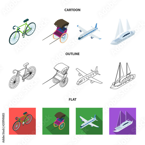 Bicycle, rickshaw, plane, yacht.Transport set collection icons in cartoon,outline,flat style vector symbol stock illustration web.