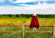 Woman looking into field while sitting on fence