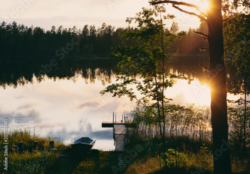 Plexiglas Pier Summer sunset in Finland (Film sample)