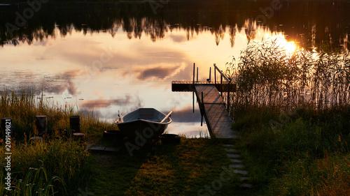 Canvas Pier Summer sunset in Finland