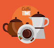 top view cup and coffee makers fresh drink vector illustration
