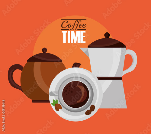 Poster top view cup and coffee makers fresh drink vector illustration