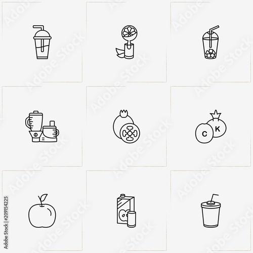 Juice line icon set with orange juice , apple juice and juice cup