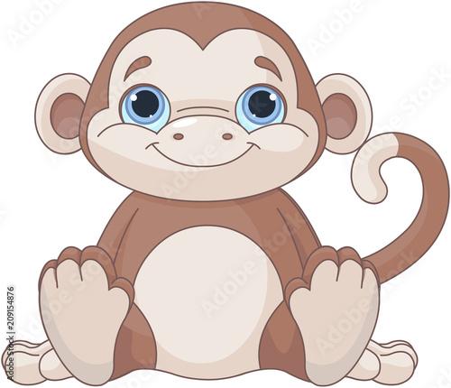 Aluminium Meisjeskamer Baby monkey