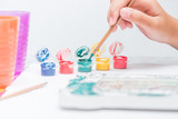 Children learn coloring and painting in classroom. - 209156090