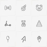 Kids line icon set with butterfly tie , air balloon and pyramid toy puzzle