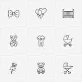 Kids line icon set with baby bed, teddy bear and baby carriage