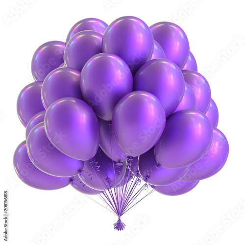 Purple balloon bunch, birthday party decoration blue, glossy helium balloons violet. Holiday, anniversary celebrate invitation, greeting card design element. 3D illustration