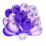 balloons blue violet, party birthday carnival decoration. helium balloon bunch glossy. holiday, anniversary, celebration greeting card design element. 3D illustration - 209157006