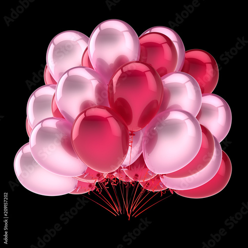 balloons red pink, party birthday carnival decoration. helium balloon bunch glossy. holiday, anniversary, celebration greeting card design element. 3D illustration, isolated on black.
