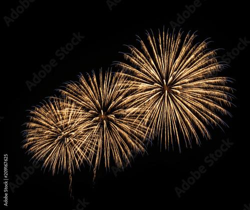 Fireworks Isolated on Black Background. Fireworks Light up the Sky, New Year Celebration.