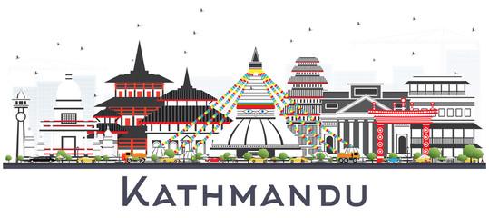 Kathmandu Nepal Skyline with Gray Buildings Isolated on White.