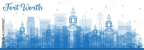 Zarys Fort Worth Skyline z Blue budynków.