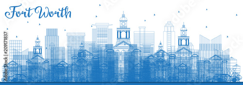 Fridge magnet Outline Fort Worth Skyline with Blue Buildings.