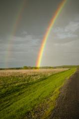 rainbow after rain against a backdrop of gloomy sky