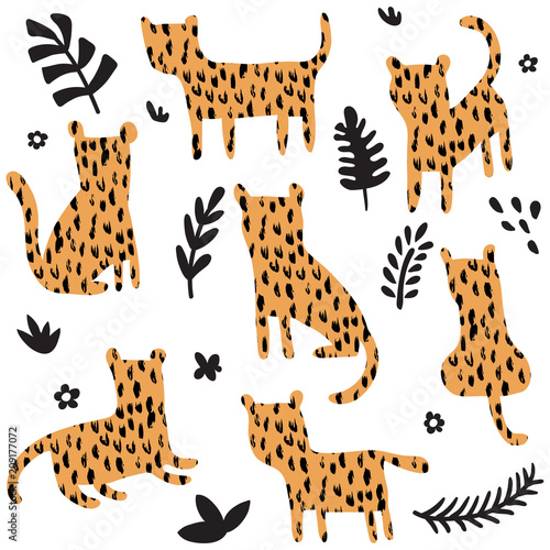 Fototapeta leopard set