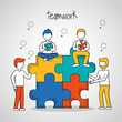 people teamwork boys sitting  puzzle progress vector illustration